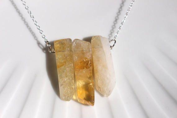 Collar de citrino collar  collar de cristal crudo crudo