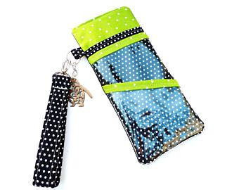 Tract Passport Document Airline Ticket Travel Holder Open-Faced With One Fabric Pocket And 2 Clear Pockets Wristlet Swivel Key Holder