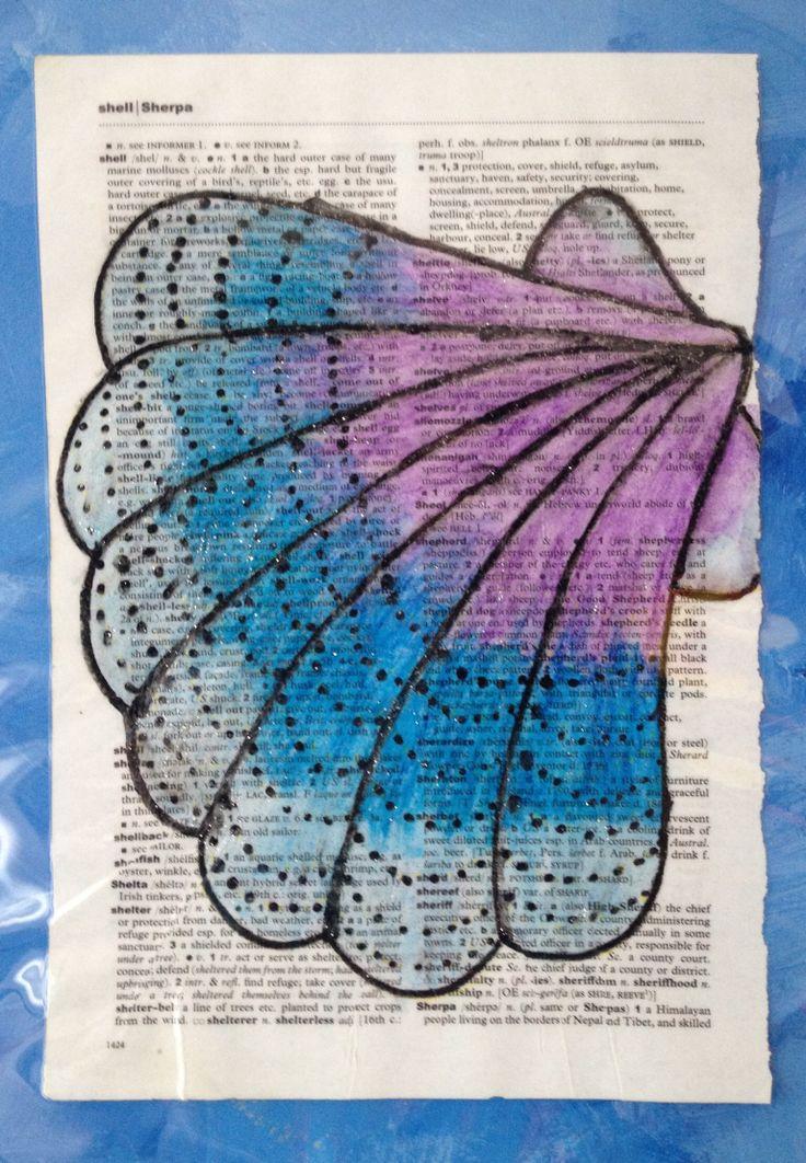 Dictionary Shell by Shirl, mixed media