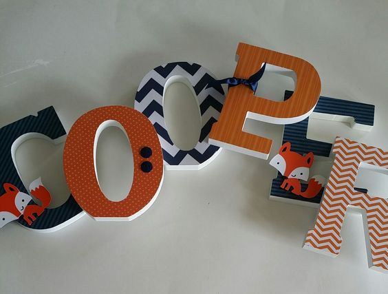 Custom Wooden Letters, Baby Boy, Lucky Fox Theme, Fox nursery decor, Navy Blue and Orange, Woodland, Chevron, any size or font in this shop by dwellingonline on Etsy https://www.etsy.com/listing/207128222/custom-wooden-letters-baby-boy-lucky-fox