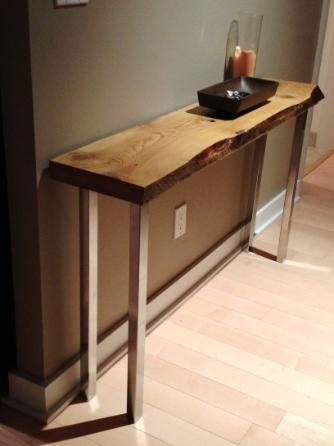 Reclaimed Barn Wood Console table with metal legs. 13 best images about Designer table frames and legs on Pinterest
