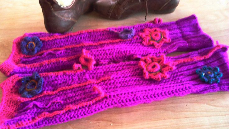 long boho style womens leg warmers in magenta color knit crochet decorated repurposed boot toppers eco winter wear/ SALE (20.00 USD) by BAGSBAGSBAGSBAGS