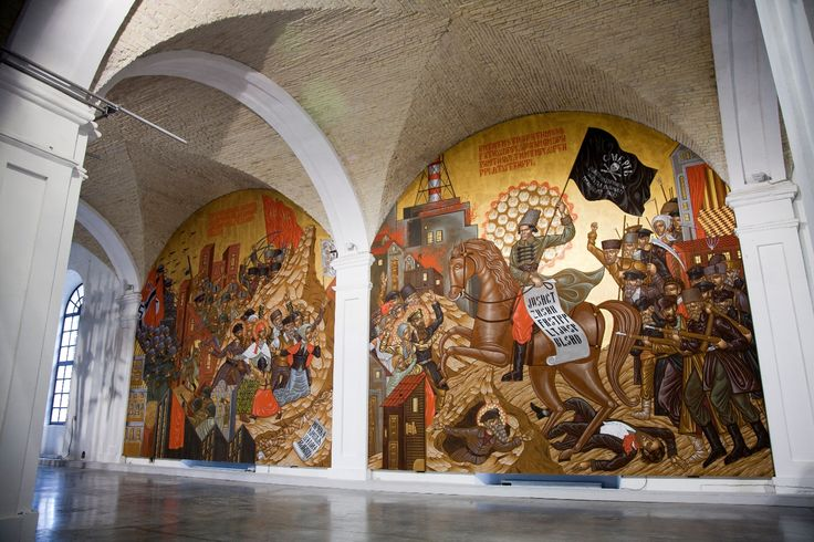 Stelios Faitakis, Pincer of Germany - Revolution of Machno, 2012, site specific mural painting, latex, acrylic and site spray paint in 2 parts, 780x760 cm each, installation view at the 1st Kiev Biennial, Arsenale 2012, curated by David Elliott