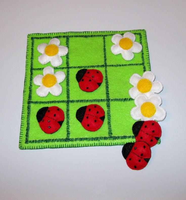 Felt Tic Tac Toe game set  -  Ladybugs and Chamomiles  -  Gift For Baby. $39.90, via Etsy.