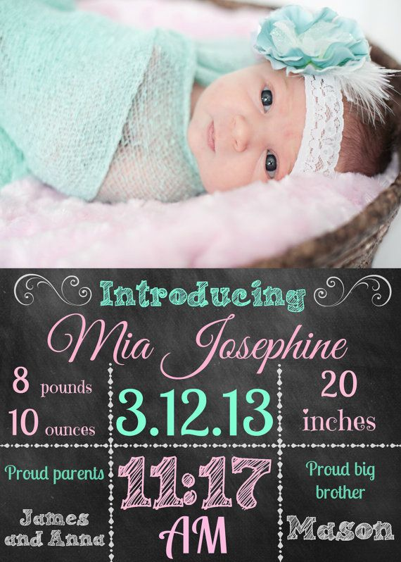Custom Photo Chalkboard Birth Announcement by Chalkboards4Littles, $10.00