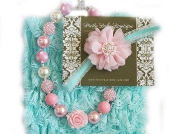 Mameluco del bebé del cordón conjunto, rosa y azul menta Aqua Petti mameluco y venda del bebé, ropa de bebé, bebé foto Prop