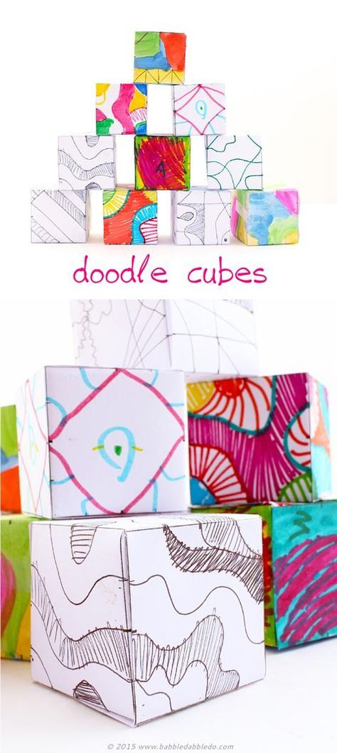 Doodle cubes are a fun art activity for kids that allows them to see how their 2D designs can translate into 3D designs. Great for spatial awareness!