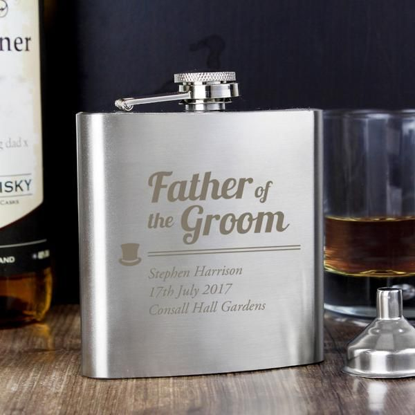 Customized Father of the Groom Hip Flask