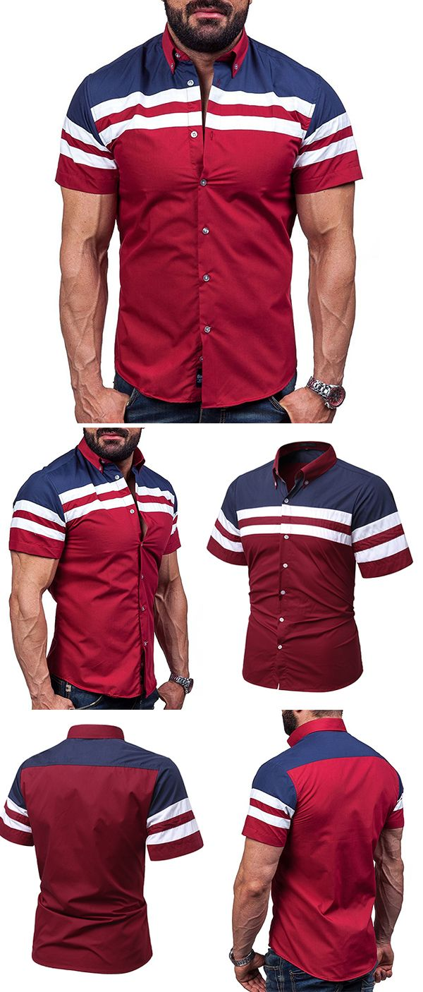 US$18.88 (47% OFF) Casual&Fashion Wine Red Stitching Stripes Printing Designer Shirts for Men