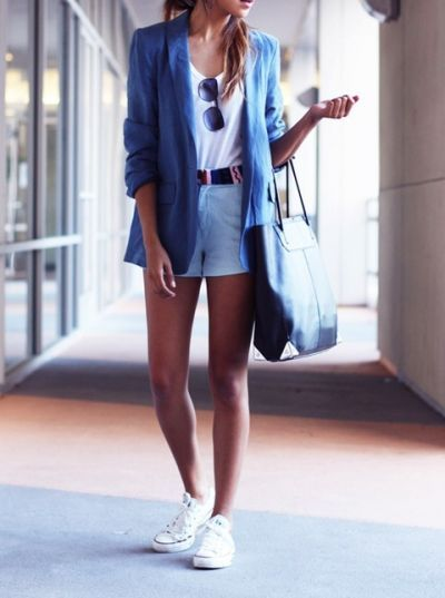 love this look!: Chuck Taylors, Converse Outfits, White Converse, Cool Converse, Blue Blazers, Summer Outfits, Outfits Ideas, Conver Outfits, Travel Outfits