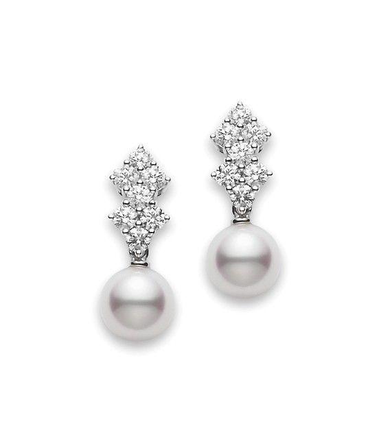 Classic Elegance Drop Earrings 7.5mm Cultured akoya pearls set in 18k white gold | Mikimoto