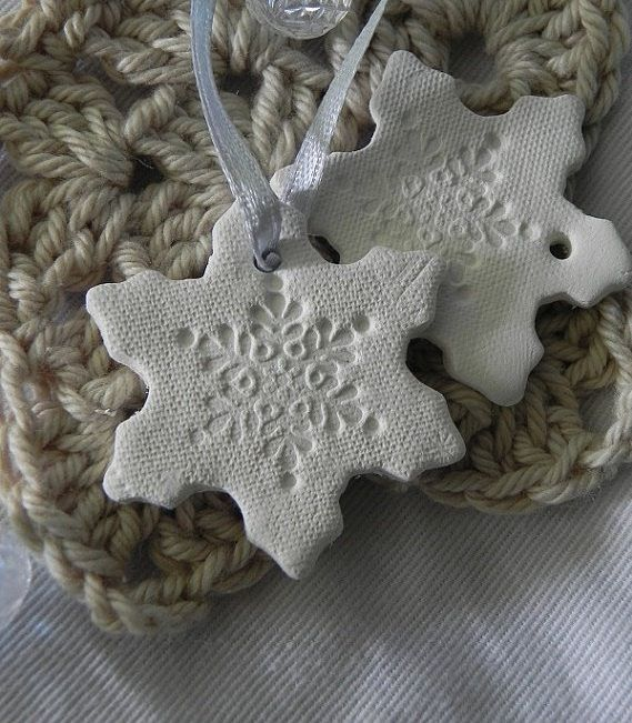 Love this idea of a snowflake but press with lace before baking