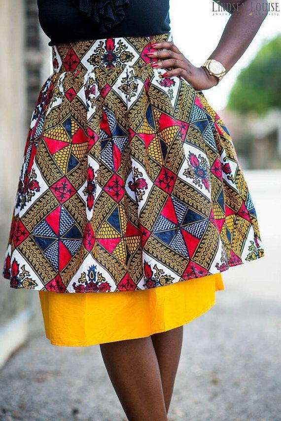 Mini Rok bruin val Afrikaanse kleding door MsAlabaAfricanShop