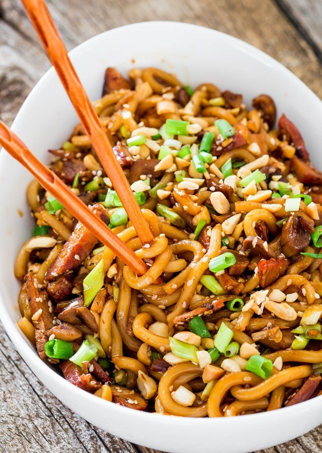 """<p>Asian Style Udon Noodles with Pork and Mushrooms – a super quick and incredibly easy udon noodles dish with pork, mushrooms and a spicy sauce. Dinner in 20 minutes tops!</p> <p><a href=""""http://www.jocooks.com/main-courses/pork-main-courses/asian-style-udon-noodles-with-pork-and-mushrooms/"""" target=""""_blank"""">Get the recipe here.</a></p>"""