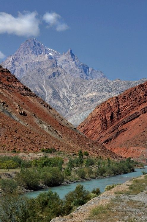 Palette of mountains, Tajikistan. The Pamir Mountains are a mountain range in Central Asia formed by the junction of the Himalayas with Tian Shan, Karakoram, Kunlun, and Hindu Kush ranges. They are among the world's highest mountains, and since Victorian times, they have been known as the 'Roof of the World'. (V)