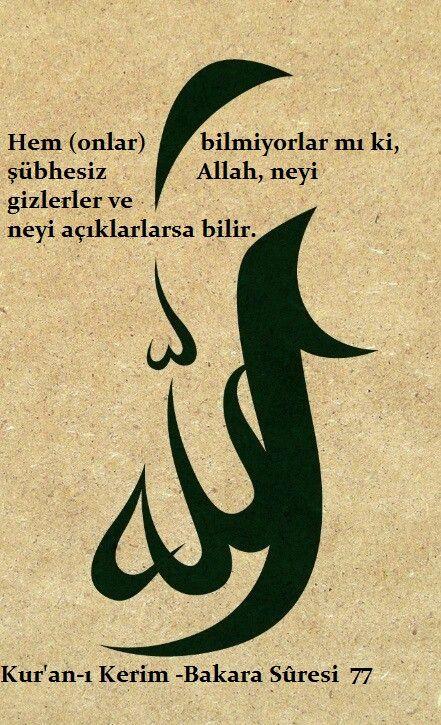 Hem (onlar) bilmiyorlar mı ki, şübhesiz Allah, neyi gizlerler ve neyi açıklarlarsa bilir.  Kur'an-ı Kerim -Bakara Sûresi 77