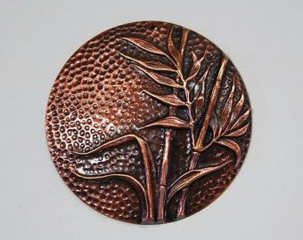Antiqued Copper Dapped Pendant with Reeds Bamboo mtl085