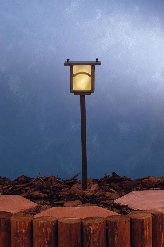 Meyda Tiffany 73545 Single Light Post Light Craftsman Brown Outdoor Lighting Post Lights Post Lights