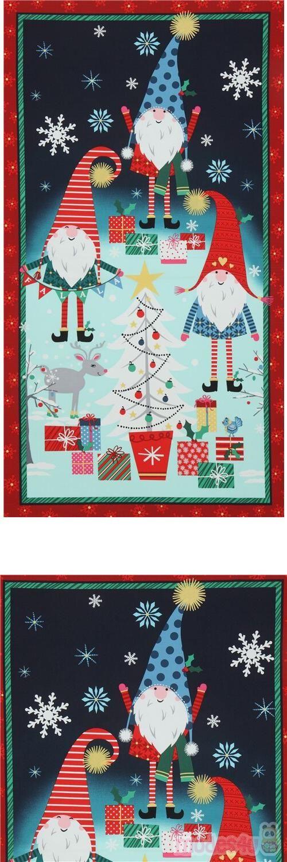 tessuto Michael Miller decorazioni dorate natalizio gnomi