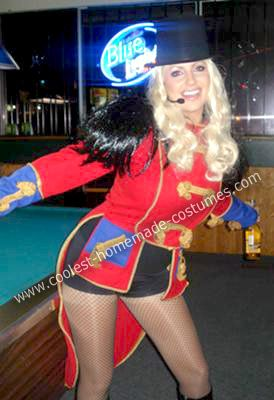coolest homemade ringmaster britney spears costume - Britney Spears Red Jumpsuit Halloween Costume