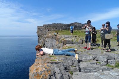 Cliffs at Dún Aonghasa - Hogans Blog: Artist on the edge! - Aran Islands #cliffs #ireland #galway #aranislands #inismor #dunaonghasa #spectacular #amazingplaces #holidays #destinations #edge #nature #tourists