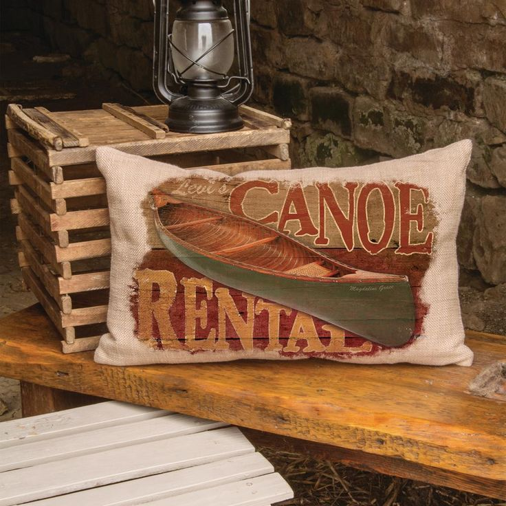 Lodge Hollow Natural Canoe Rental Canoe Decorative Pillow, Natural (Canoe Rental)