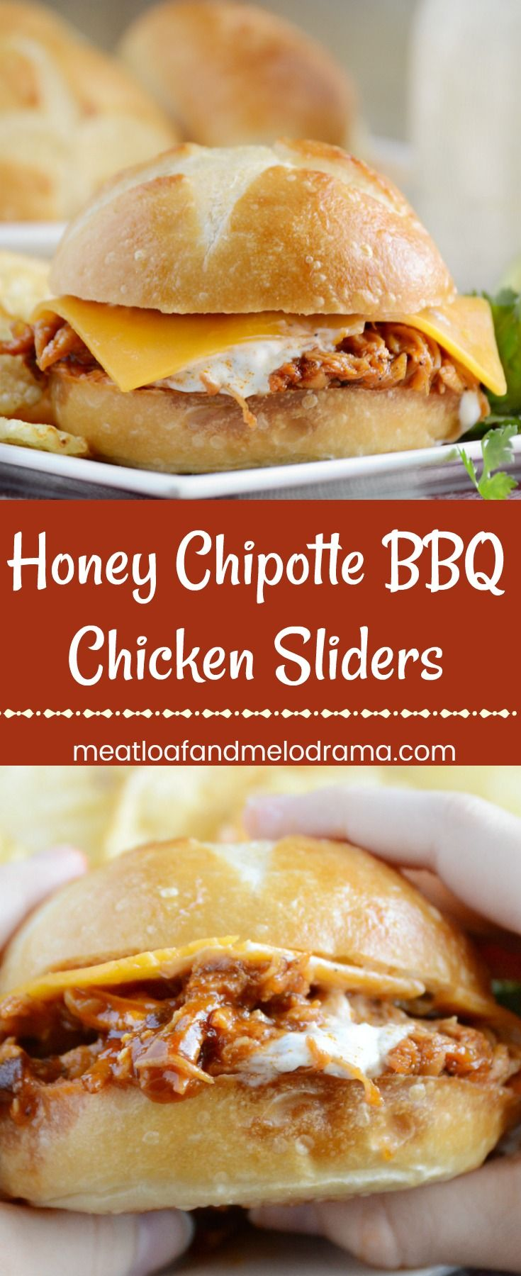 Honey Chipotle BBQ Chicken Sliders -  Quick and easy dinner or gameday appetizer made with shredded chicken in a sweet and spicy barbecue sauce and topped with cheddar cheese and ranch dressing. Cooks in the Crock-Pot. Let your slow cooker do the work! from Meatloaf and Melodrama