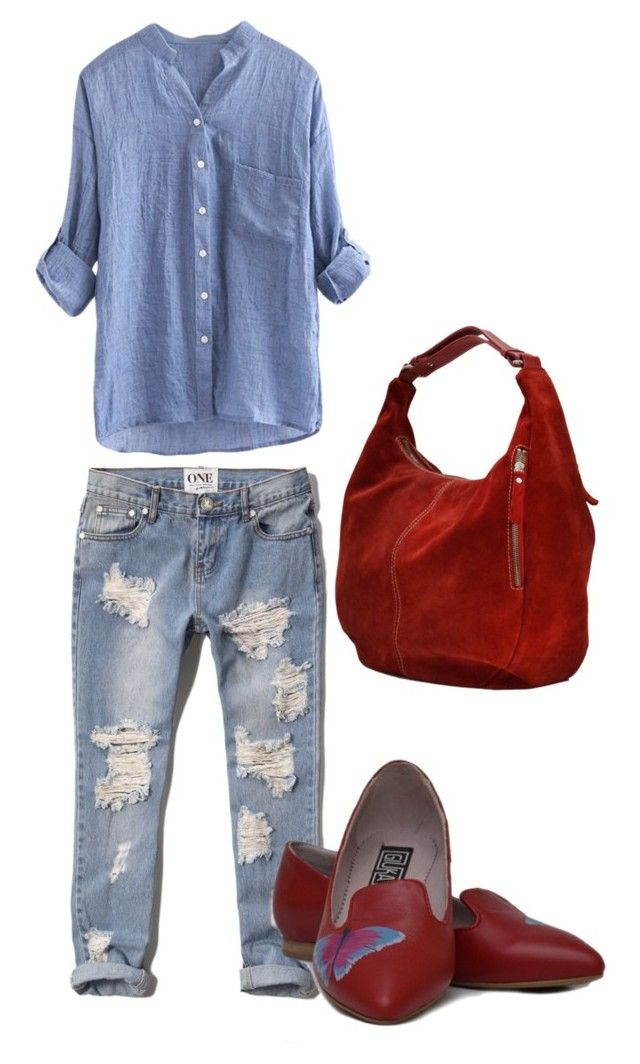 """""""Giuka's Mix & Match: Red Butterfly Ballerinas with Red Sack Bag"""" by giuka on Polyvore"""