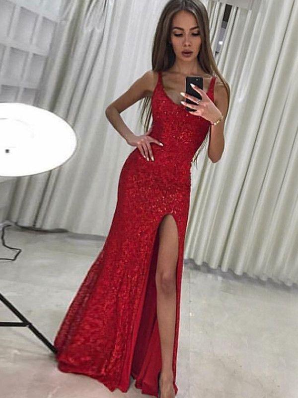Lang Eng Anliegende Rot Pailletten Ballkleid Mit Schlitz Abendkleid Langes Abendkleid Abendkleid Gunstig
