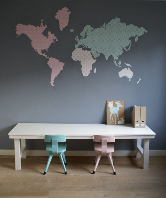 World map cut out of wallpaper by GlueScissorsPaper on Etsy