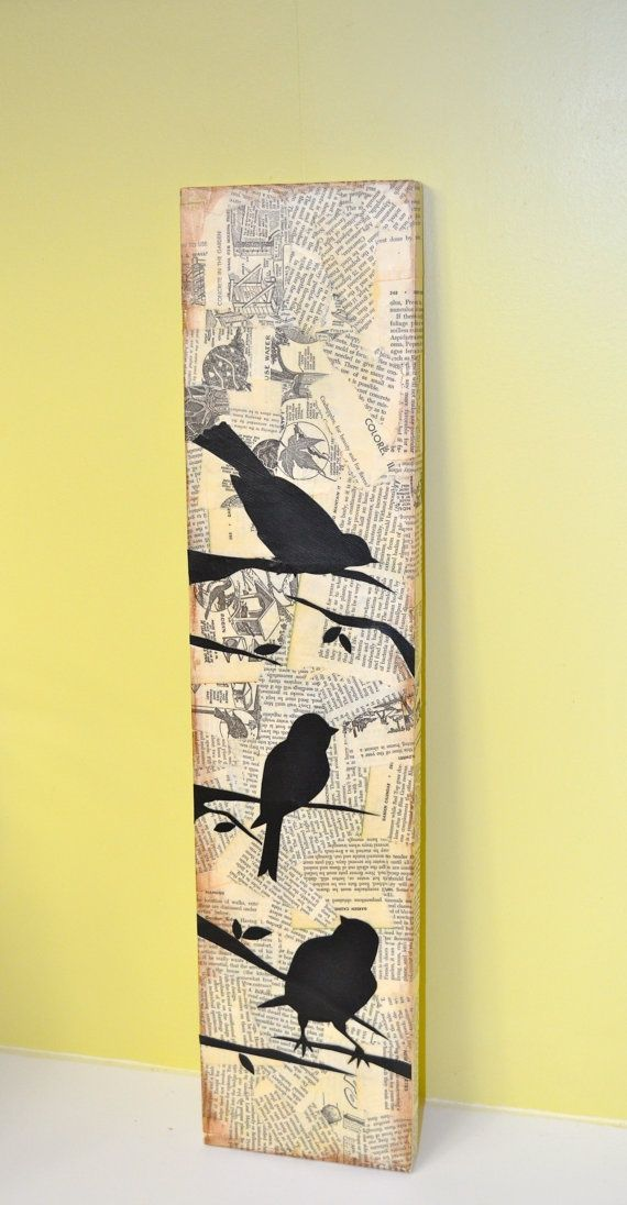 3 bird silhouettes in mixed media style on long by busygirlart, $25.00