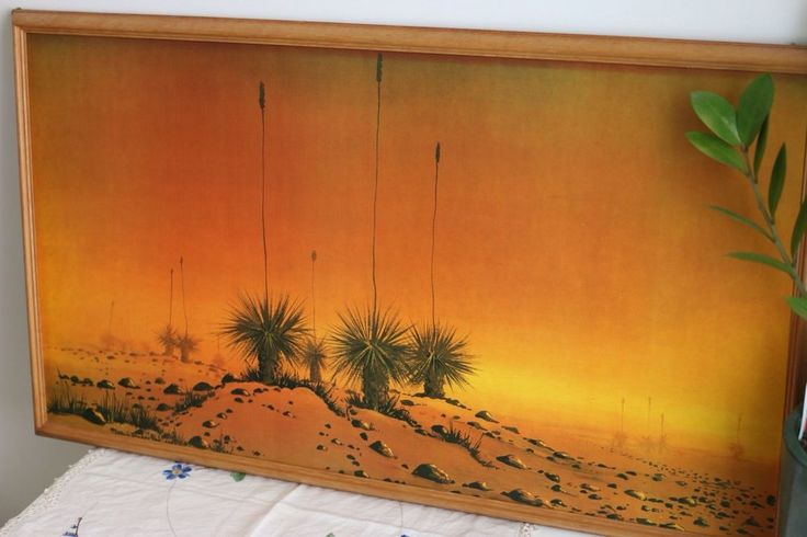 Mid Century Art Print Painting Grass Trees Retro 70s