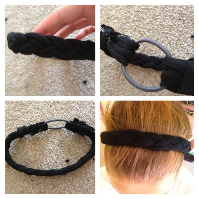 DIY headband made out of an old t-shirt and braid together. Easy! I made it(: