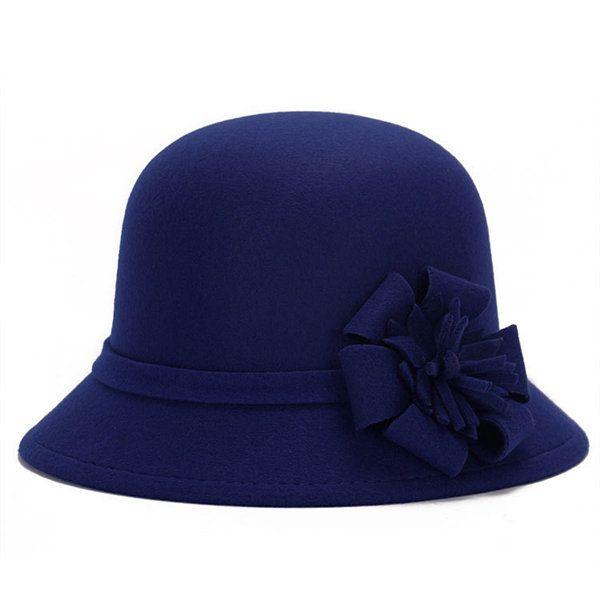High-quality Women Vintage Imitation Wool Flower Felt Hat Winter Cloche Bucket Cap - NewChic