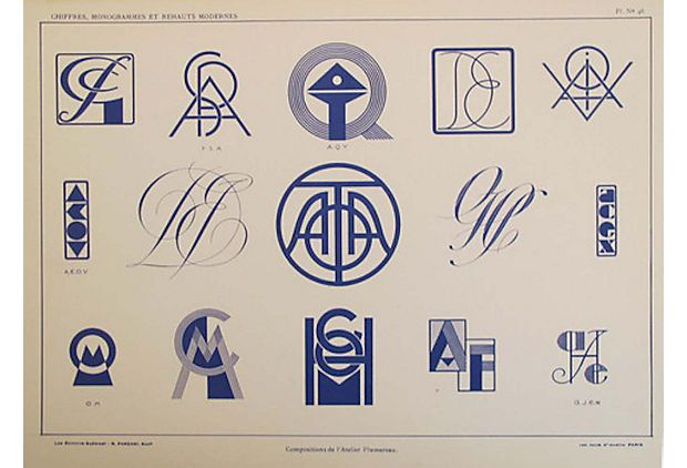 French Art Deco Typography  Sheet on OneKingsLane.com