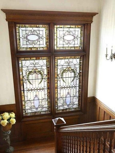 77 best images about stained glass on pinterest queen for Queen anne windows
