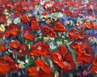 GROßE abstrakte moderne Mohn Malerei Original Blumenkunst von