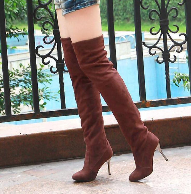 [Visit to Buy] over the knee Boots  Long Boots Autumn Winter Women thin Heels Suede Shoes Elasticity Sleeve Botas Mujer black gray brown 34-43 #Advertisement