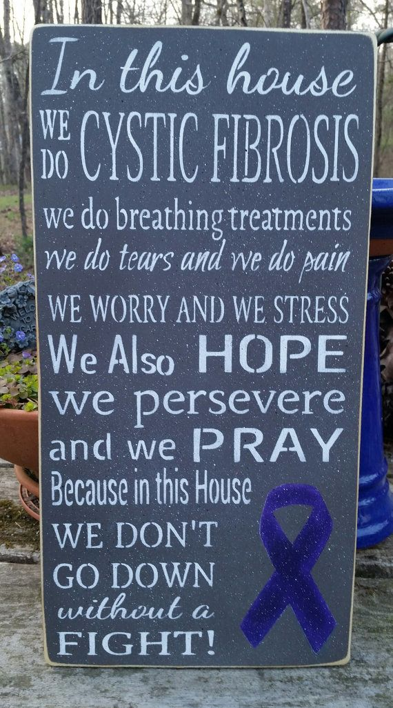 Our Handmade In this house we do CYSTIC FIBROSIS... sign has a painted white background with black letters... OR a dark grey background with white letters. Both background colors will have a purple ribbon reflecting the hope for a cure!!!  This sign measures 9.25 x 18 (3/4 thick)  I have uniquely speckled with black and white, gently aged, and given the sign 2 coats of sealer.  I have also added a sawtooth hanger, so its ready to hang!  Every detail is done by hand.  Each is a one of a kind…