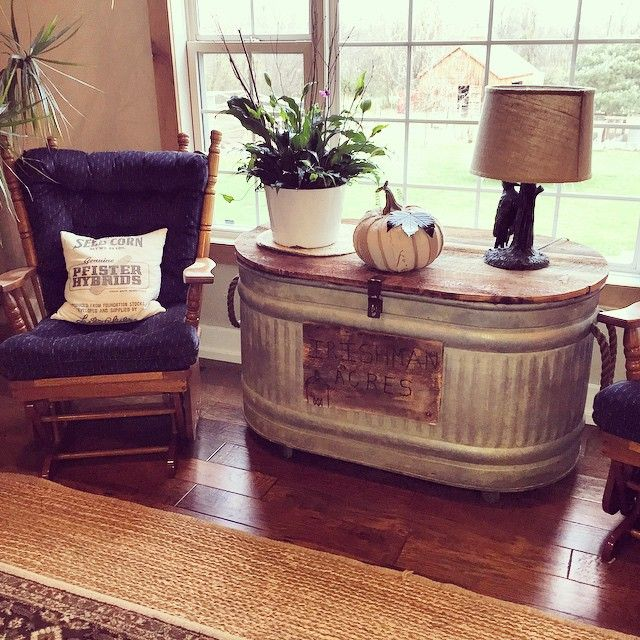 Good Morning!   There has been a lot of interest lately in our recyled water trough.       {our living room 3 years ago}    I first post...