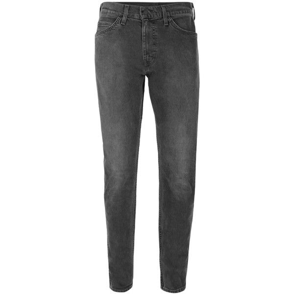 TOPMAN LEVI'S Line 8 Dark Grey Slim Tapered Jeans (320 PLN) ❤ liked on Polyvore featuring men's fashion, men's clothing, men's jeans, grey, mens grey jeans, mens slim fit tapered jeans, mens slim tapered jeans, mens tapered jeans and mens slim cut jeans