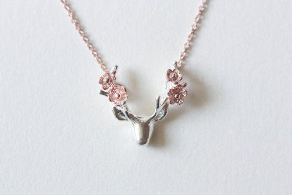 Blume Halskette Hirsch Geweih Halskette rose gold von TedandMag
