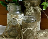 Burlap and lace with recycled glass jars