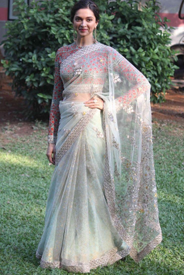 Deepika Padukone in Anju Modi - saree - full sleeve blouse - sheer - Indian fashion - Indian couture - fashion - bollywood