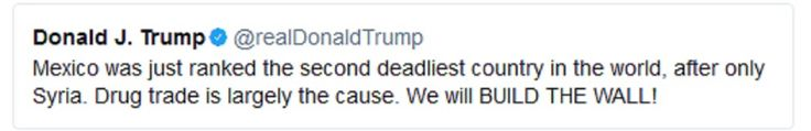 USA es el país que más muertes ha causado en Siria y el que más drogas consume de México, no le importan las muertes @realDonaldTrump