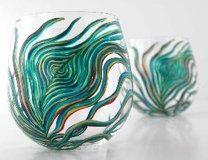 peacock glassPeacock Feathers, Cups, Stemless Glasses, Peacocks Stemless, Glasses Sets, Peacocks Colors, Peacocks Feathers, Design, Stemless Wine Glasses