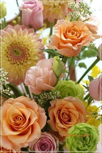【今日の贈花】お誕生日にオレンジのお祝花|Flower note の 花日記 (横浜・上大岡 アレンジメント教室)
