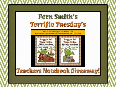 Terrific Tuesday's Teachers Notebook Giveaway! #TeacherTuesday #Giveaway www.FernSmithsClassroomIdeas.com