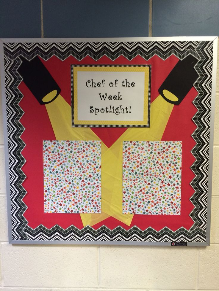 Chef of the week spotlight bulletin board. Picture of student on the left and…