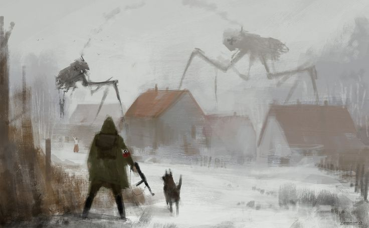 daily spitpainting, 'giant spider of the roof', 30min… tomorrow is Polish Independence Day, so…